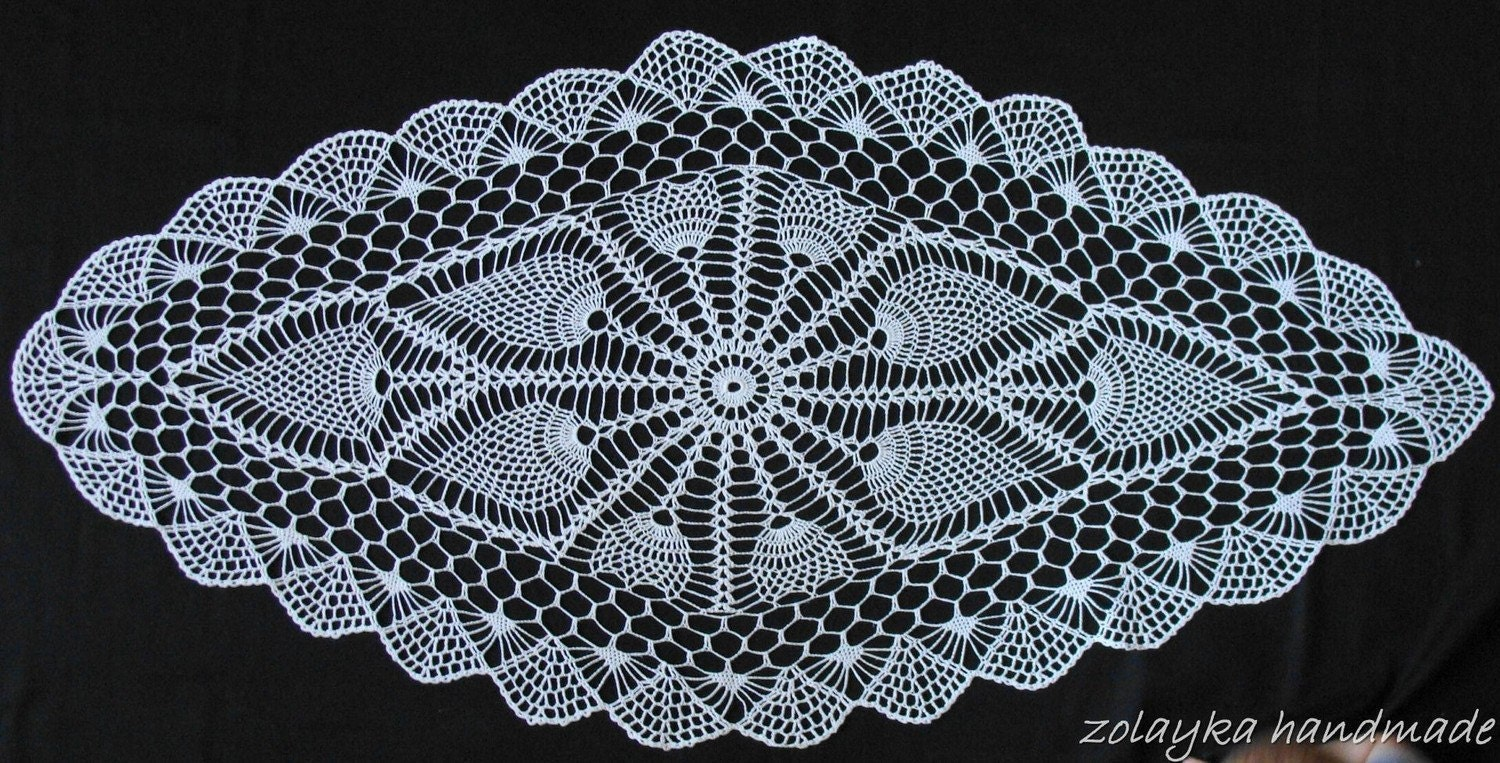 Crocheted Oval Lace Cotton Tablecloth Romona by zolayka on Etsy