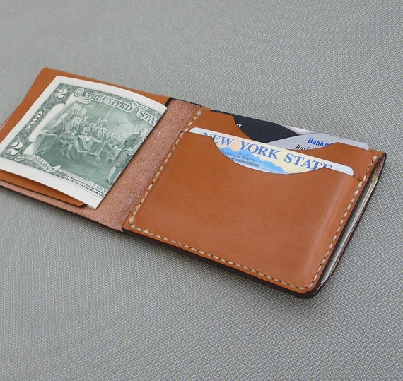 GARNY -Leather Fold No.4 Tan - Simplified wallet from vegetable dyed leather - Free Shipping