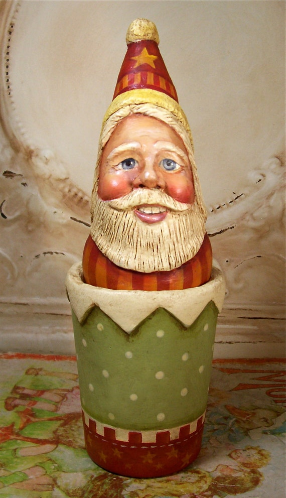 Santa Folk Art Christmas Original One of a kind Hand Painted Candy container