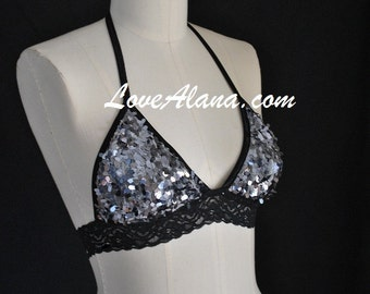 SALE til 11/23 Silver Sequin and Lace Triangle Top - Blingy Bikini or Dance String Top (ALL SIZES)