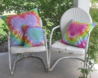 Tie dye decorative designer throw pillow covers, You choose the size/s,  Pastel Rainbow Hearts, 700