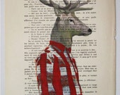 Drawing Illustration Giclee Prints Posters Mixed Media Art Acrylic Painting Holiday Decor Gifts: Mr Deer posing