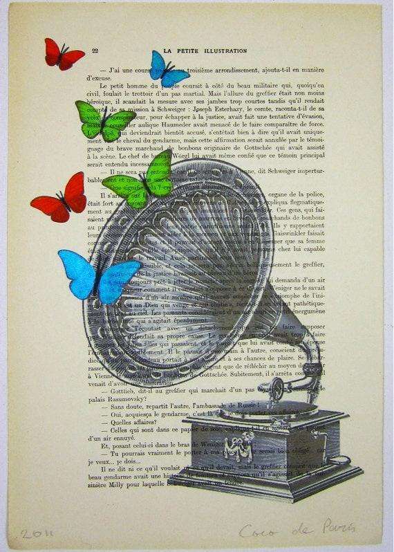 Butterfly music: Original Illustration Digital Print Mixed Media Art Poster Acrylic Painting wall art wall hanging wall Decor Drawing