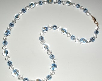Blue and Gold Murano Glass Bead Necklace