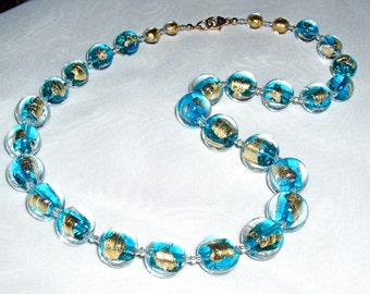 24K Gold Infused and Aqua Murano Glass Necklace