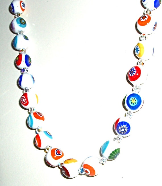 Murano Millefiori Glass Necklace with Crystals