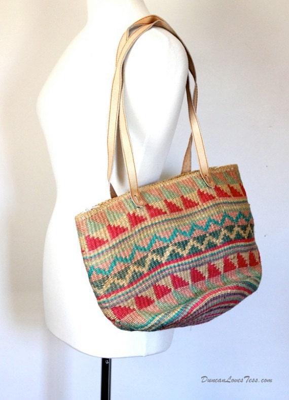 Vintage Market Tote / Ikat Straw Rafia Leather / Boho Hippie Music Festival Beach Bag