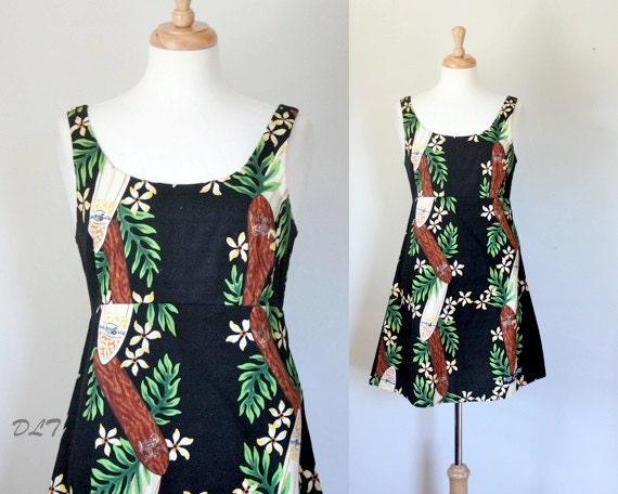90s Dress / 90s Mini Dress / Hawaiian Mini Dress / Vintage Mini Dress / Blue Planet