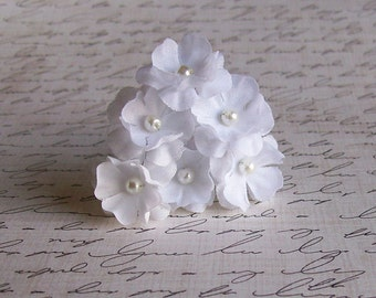 White Flower Mini Hair Pins -  White Wedding Hair Pins - Set of 6 Flowers - Made to Order