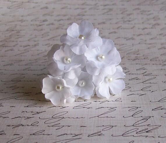 White Flower Mini Hair Pins -  White Wedding Hair Pins - Set of 6 Flowers - Made to Order