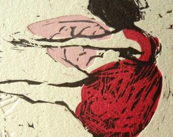Linocut print, Red Dress Angel by Marta Wakula-Mac, original hand pulled print, Pink Feather, Dance, Ballerina, Ballet