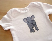 Baby Gray Elephant, Boy or Girl - Bodysuit, Short Sleeve