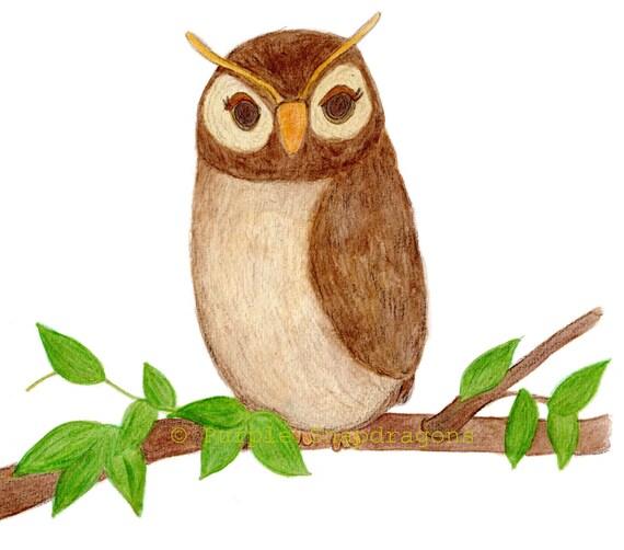 Wise Old Owl, Fine Art Print, Children's Wall Art