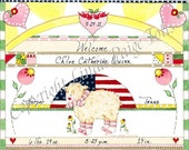 Baby Girl Nursery Art Print by Linda Paige Tolis- Personalized Baby Girl Birth Announcement