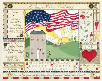 Baby Dedication Certificate - Linda Paige Tolis-Personalized Baby Dedication Certificate -House of Glory