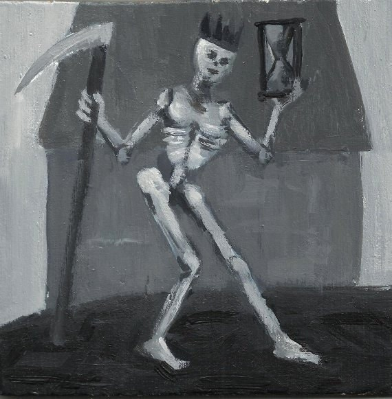 Original Painting of Skeleton - Death Wearing Crown - Acrylic Painting - Sands of Time - Scythe - Black and White Artwork - Size 6x6