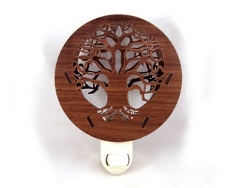 Tree of Life Wooden Night Light - Sustainably Harvested Walnut Wood Nightlight - READY TO SHIP