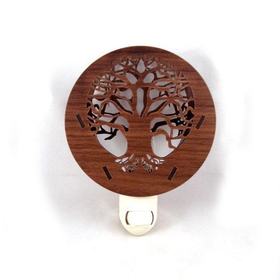 Tree of Life Wooden Night Light - Sustainably Harvested Walnut Nightlight