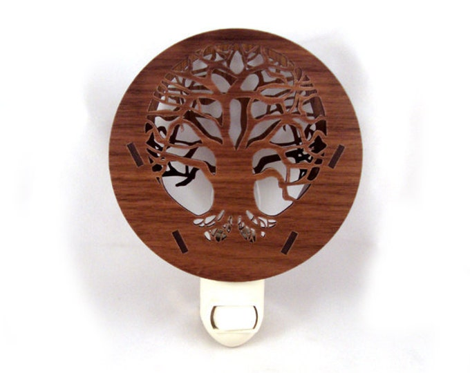 Featured listing image: Tree of Life Wooden Night Light - Sustainably Harvested Walnut Wood Nightlight