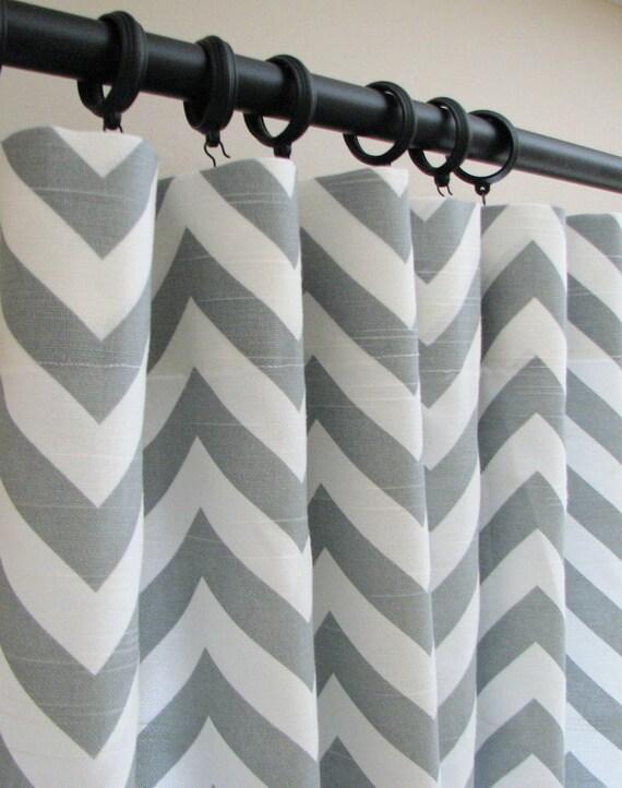 curtains drapes 50 x 84 ash gray and white chevron zig zag