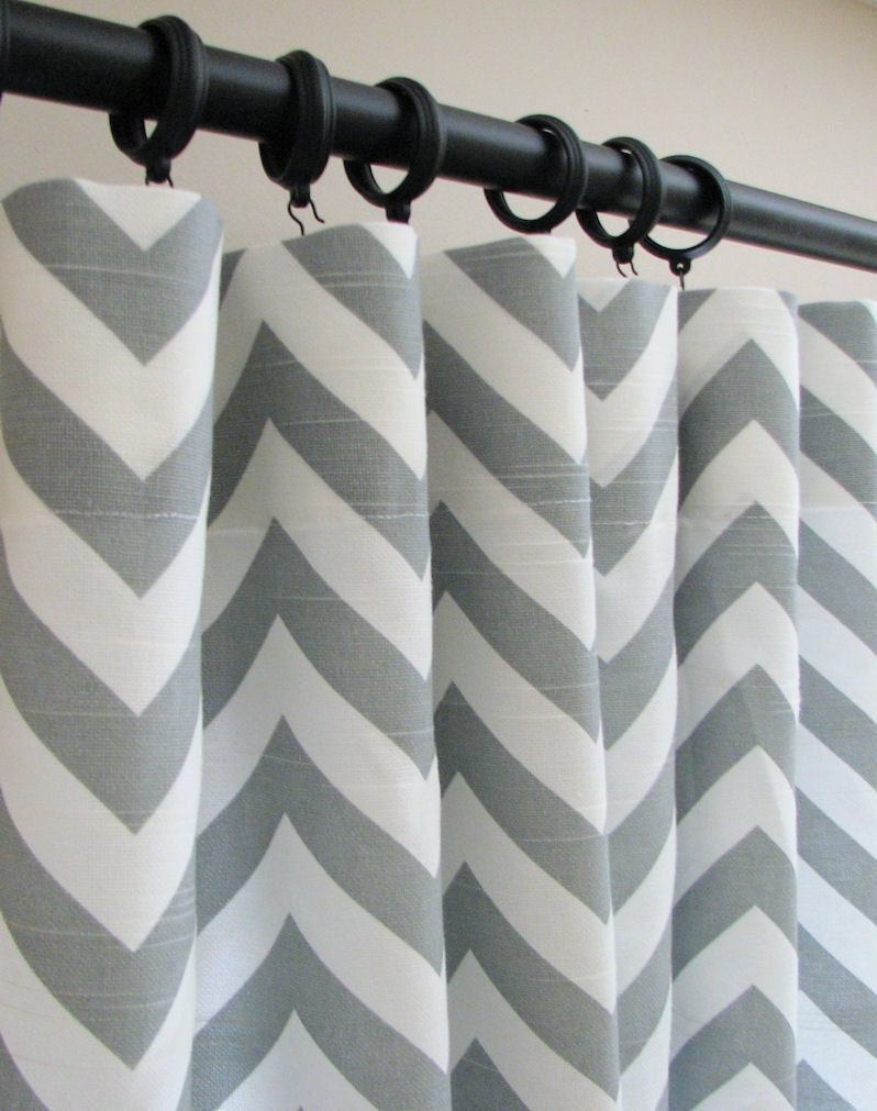 items similar to pair of decorative designer custom curtains drapes 50 x 84 ash gray and white. Black Bedroom Furniture Sets. Home Design Ideas