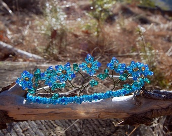 Forget me not blue flower fairy Tiara, elven jewelry, Swarovski crystal French beaded flower crown, forest faery jewelry, fairy bridal tiara
