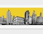 Chicago Art Print Pop Art Deco Skyline - Yellow - Wall Decor - Hand Printed