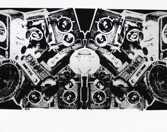 Cameras Art Print (Collage) - Silver Abstract - Hand Printed