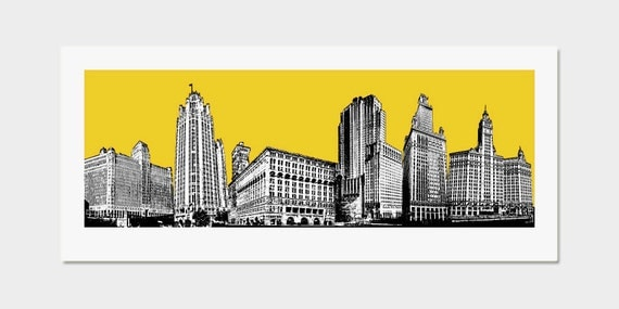 items similar to chicago art print pop art deco skyline yellow wall decor hand printed on etsy. Black Bedroom Furniture Sets. Home Design Ideas