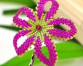 Frangipani hair flower - hot pink and lime green plumeria - Paradise Isle