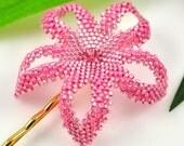 Hawaiian Plumeria hair flower - gold lined pink - Island Girl