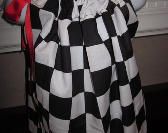 Custom Boutique Pillowcase Dress Checkered Flag Race Car