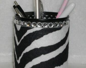 ZEBRA PRINT & BLING Pen/Pencil Cup - Zebra print eco felt w/ black pen cup and clear rhinestones