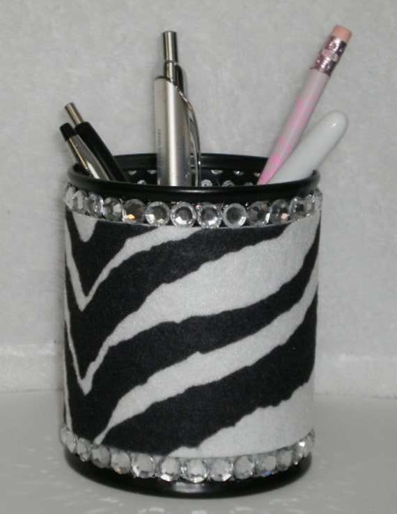 ZEBRA PRINT & BLING Pen/Pencil Cup - Zebra print eco felt w/ black pen cup and clear rhinestones