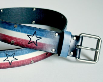 American flag leather belt 4th of July