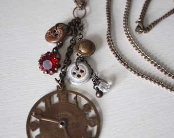 Pendant Necklace, Watch Fob Vintage Assemblage, Faux Clock
