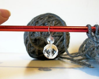 Clear Faceted Glass Row Knitting Stitch Marker Or Pendant OOAK