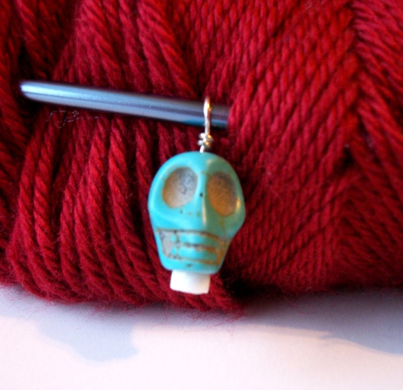 Turquoise Goth Skull Knitting Stitch Marker Large Single Row Marker Dia de los Muertos Light Blue