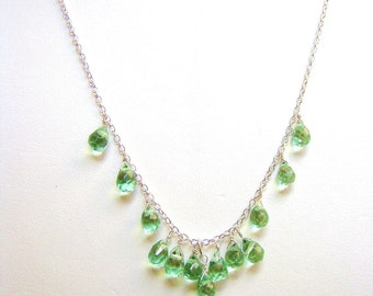 Sale 40% off Green Peridot Gemstone Necklace - Sterling silver or Gold fill