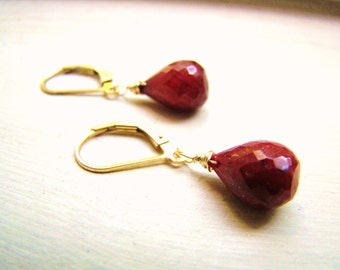 Sale Indian Red Ruby Earrings Gold Rose Gold or Sterling Silver