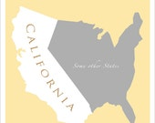 CALIFORNIA - Map of U.S. featuring California - 11x14 or 16x20 print - Home decor Wall hanging art print poster