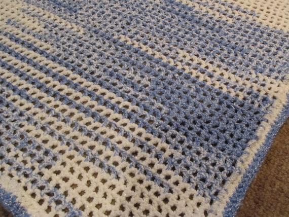 Crochet Ocean Wave : Crochet Baby Blanket - Ocean Waves Baby Blanket, Blue and White