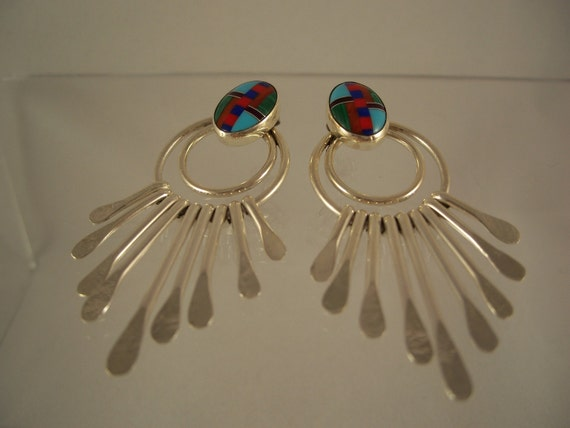 Native American Navajo Sterling Silver Inlay Earrings