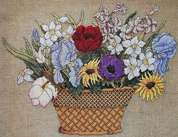 Flower Baskets Cross Stitch Charts : Linda jary flower basket by just cross stitch counted