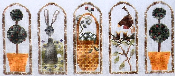 Bent Creek SPRING ARCHES ARCH Topiary Bird Easter Bunny - Counted Cross Stitch Pattern Chart