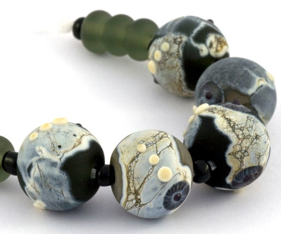 Handmade Etched Organic Glass Beads in Shades of Dark Grey & Black