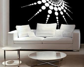 Medallion, 3D 3 Dimensional, Polka Dots, Retro Decor, Retro Decal, Home Wall Art, Wall Decor, Bedroom Decal, Vinyl Sticker, Wall Vinyl