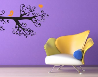 Branch Wall Decal, Decorative Branches, Bird Decal, Bird Decor, Home Decor, Wall Decal, Nursery Art, Housewares, Swirl, Curly, Kids Decor