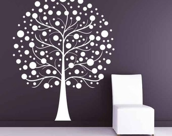Tree Wall Decal, Snow Ball, Circles, Balls, Winter, Spring, Branch, Branches, Decal, Vinyl, Sticker, Wall, Home, Nursery, Office Decor