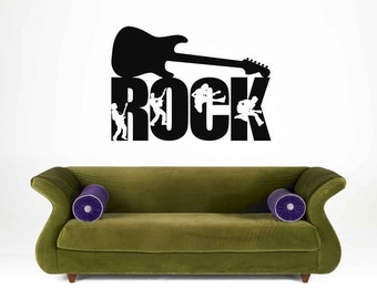 Rock Star, Guitar Decal, Guitar Decor, Guitar Decorations, Rock n Roll Decor, Kids Bedroom Decor, Concert Decal, Tween Room Decor, Wall Art